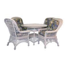 "Bar Harbor 5-Piece Dining Set With 42"" Glass, White, Lismore Gardens Fabric"