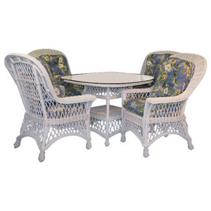 """Bar Harbor 5-Piece Dining Set With 42"""" Glass in White, Moserratt Surf Fabric"""