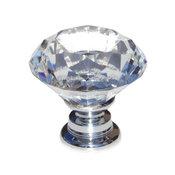 "Clear 1-1/8"" K9 Crystal Diamond Shape Cabinet Knob"