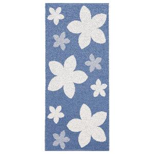 Flower Woven Vinyl Floor Cloth, Blue, 70x200 cm