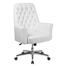 Flash Furniture Mid Back Traditional Tufted White Leather Executive Swivel Office
