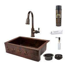 "33"" Copper Apron Sink w/ Star Design w/ Faucet"