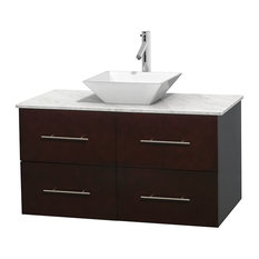 "Centra 42"" Espresso Vanity, Carrera Marble Top, Pyra White Porcelain"