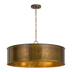 60W Rochefort Metal 5 Light Chandelier, Distress Gold Finish