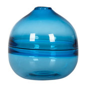 Optic Hand Blown Solid Color Art Glass Vase, Gift Boxed,Blue,7.7""