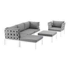 Harmony 6 Piece Outdoor Patio Aluminum Sectional Sofa Set, White Gray