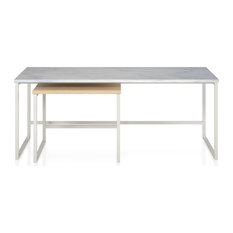 CosmoLiving By Cosmopolitan Nesting Coffee And End Tables White Marble