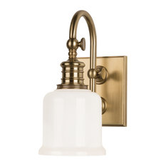 Keswick 1-Light Bath and Vanity With Opal Glossy Glass Shade, Aged Brass