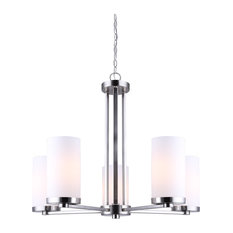Canarm River 5-Light Chandelier With Flat Opal Glass, Brushed Nickel Finish