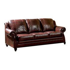 Silver Coast Company   Burgundy Leather Sofa With Nailheads   Sofas