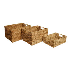 Wald Imports, Ltd. - Woven Seagrass Storage Baskets, Set Of 3 - Baskets