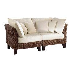 Panama Jack Sanibel 2-Piece Loveseat Set Cushions Sunbrella Linen Taupe