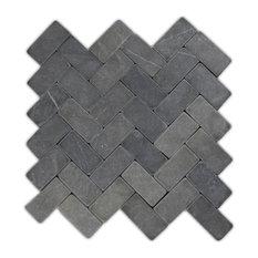 "Colin Locke - 11""x12"" Gray Herringbone Stone Mosaic Tile - Mosaic Tile"