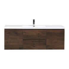 MOB 60-inch Single Acrylic Sink Wall Mounted Vanity Rosewood