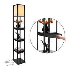 Brightech Maxwell Drawer Edition - Shelf & LED Floor Lamp Combination, Classic B
