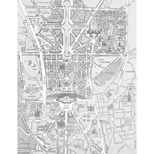 Map of Versailles Wallpaper, Black and White, 192x250 cm