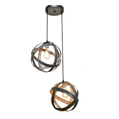 Atom Collection - Plicate - Wine Barrel Chandelier, Black Pendant Cord