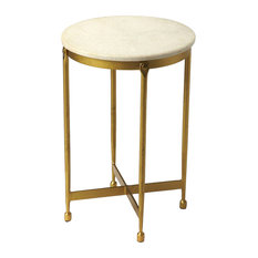 Gentil Claypool White Marble End Table   Gold