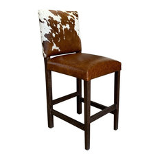 Modern Cowhide Bar Stool With Back Set Of 4