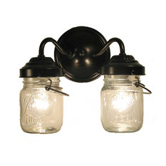 Vintage Clear Canning Jar Double Sconce Light, Oil Rubbed Bronze