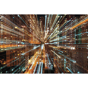 Fusion Futuristic Abstract Skyline Photo Wall Mural, 368x248 cm