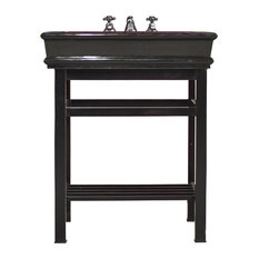 "Black Stainless Steel Bath Vanity 30"" Granite CounterTop Open Shelf Bath Console"