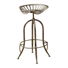 gdfstudio aldean bar stool brushed silver bar stools and counter stools - Tractor Seat Stool