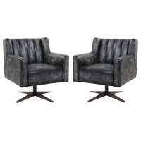 (Set of 2) Executive Office Chair in Black Top Grain Leather