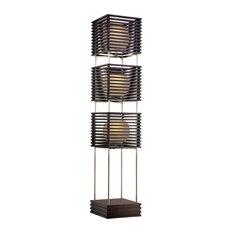 Asian Floor Lamps: Possini Euro Design - Possini Euro Three Tier Wood Slat Frosted Glass Floor  Lamp - Floor,Lighting