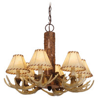 "Chandeliers 6 Light Fixture With Noachian Stone Poly Resin Candelabra 22"" 360 W"
