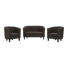 Brown Prospect 3 Piece Upholstered Fabric Loveseat And Armchair Set