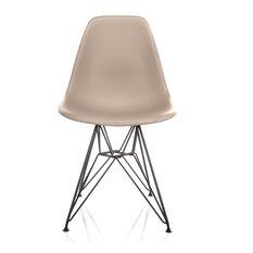 Nature Series Cream Beige DSR Mid-Century Modern Dining Chair Black Steel