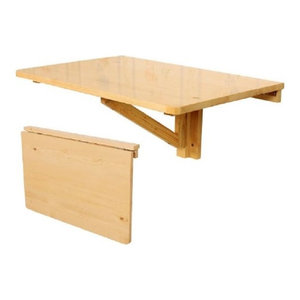 Folding Wall-mounted Table in Natural Finished Wood, Perfect for Space Saving