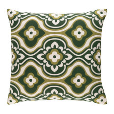 Transitional Olive and Dark Green and Cream Accent Pillow, 18  x18