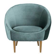 Safavieh Razia Channel Tufted Tub Chair, Seafoam/Gold