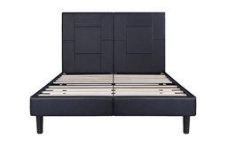 Garrett Metal Faux Leather Wood Folding Black Platform Bed, King