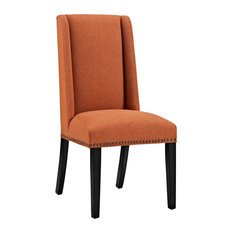 Baron Parsons Upholstered Fabric Dining Side Chair, Orange