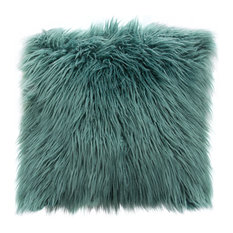 """18"""" Square Accent Pillow by Diamond Sofa, Teal Dual-Sided Faux Fur"""