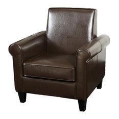 GDF Studio Larkspur Modern Design Leather Club Chair, Brown