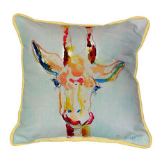 Betsy Drake Giraffe Indoor/Outdoor Pillow, Large