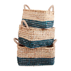 Water Hyacinth Baskets with Rope Handles - Set of 3