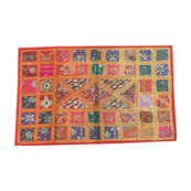 Mogulinterior - Indian Vintage Style Decorative Tapestry Red Sequin Flower Patchwork Home Decor - Tapestries