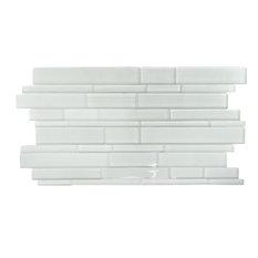 """12.63""""x23.63"""" Studio 8 Linear Mix Mosaic Tiles, Set of 4, White"""