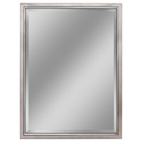 Head West Brushed Nickel and Chrome Framed Beveled Mirror - 30x40