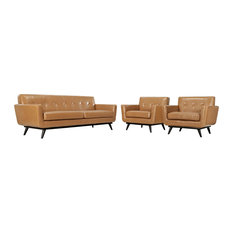 Engage 3-Piece Leather Living Room Set, Tan