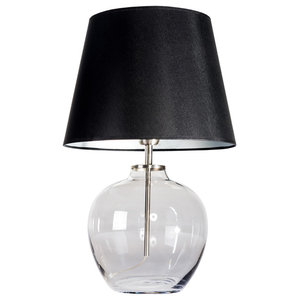 Timor Grey Table Lamp With Black and Silver Shade
