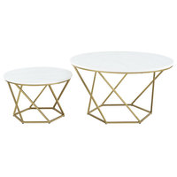 Geometric Glass Nesting Coffee Table Set, White Faux Marble/Gold