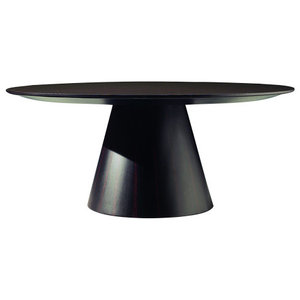 Halley Wooden Round Coffee Table, Black