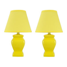 "40074-1, Two Pack Set, 14 1/2"" High, Traditional Ceramic Table Lamp, Yellow"