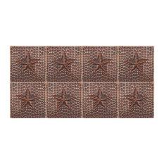 """Hammered Copper Star Tile, 4""""x4"""", Set of 8"""